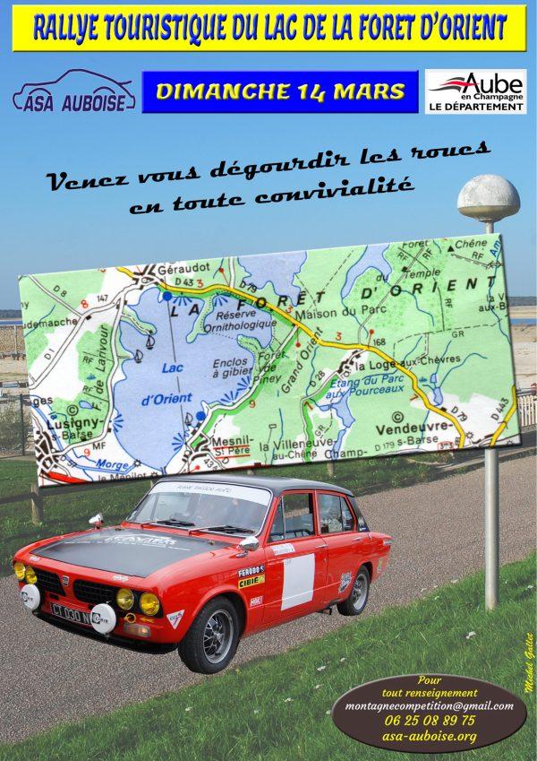 Dimanche 14 mars Rallye touristique du lac de la forêt d'Orient (Aube)